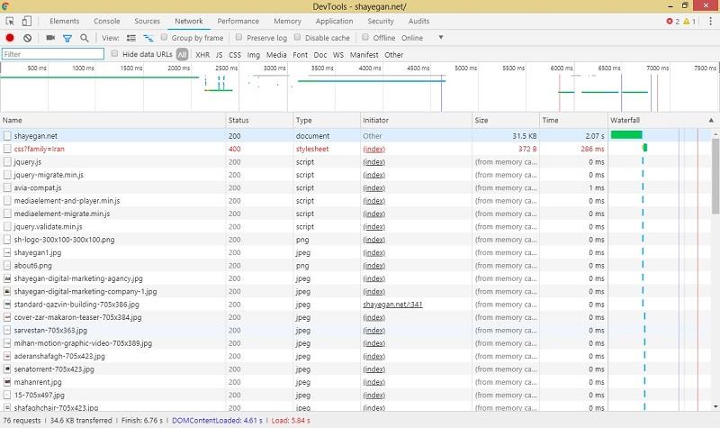 نمایش تعدا فایلها به همراه ثانیه لود آنها در سایت شایگان